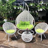 Bộ bàn ghế sân vườn + xích đu NAVICOM - Bộ bàn ghế sân vườn + xích đu đôi ( nệm nhung xanh cốm)