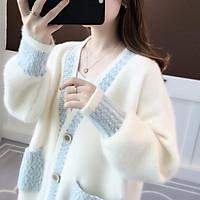 Áo khoác len nữ Cardigan áo khoác len dày chenille nữ tính