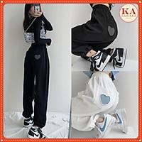 Quần jogger tim KA Closet có 2 màu Đen Trắng 2 size M, L chất umi đanh mịn không xù dầy, tim đẹp, chun ống from rộng