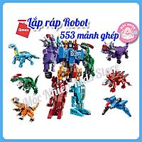 Đồ chơi lego lắp ráp xếp hình Qman 1414 - Siêu Robot khủng long (456 mảnh ghép) dành cho bé trên 6 tuổi