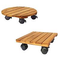 Combo 2 đế lót chậu cây có bánh xe Tròn Vuông R30 (chịu lực 80kg, chất liệu gỗ Tràm bông vàng)