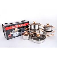 Bộ nồi KAISA VILLA - 6 món 12 chi tiết công nghệ Đức - Đáy 5 lớp, mã KV-6618 -  Thích hợp cho mọi loại bếp