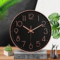 Đồng hồ treo tường kim trôi vỏ kim loại, 20cm, màu đen Dan House – DH01D bản nâng cấp