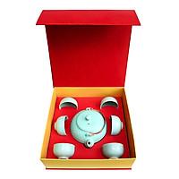 Bộ trà  quà tặng Ấm trà chấm nhật  Đông Gia - xanh ngọc Celadon 32