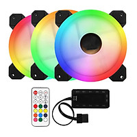 Bộ 3 Fan case Led RGB + Tặng Hub và Remote - Hàng Nhập Khẩu