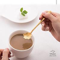 Thìa Cà Phê Mạ Vàng Hình Hoa - Thìa Cà Phê Pha Trà, Cà Phê, Ăn Bánh - Loại Ngắn 12.5cm