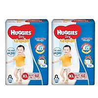 2 Gói Tã Quần Huggies Dry Gói Cực Đại XL62 (62 Miếng) - Bao Bì Mới