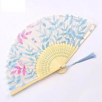 Quạt cổ trang dây tuyến quạt lá xanh quạt trúc xếp cầm tay phong cách Trung Quốc in hoa trang trí