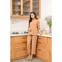 Bộ bầu sau sinh (B07) thời trang tiện lợi, kín đáo cho bé tuti, quần có chun điều chỉnh - thiết kế bởi LAMME