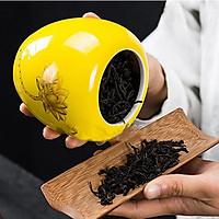 Hũ trà gốm màu vàng