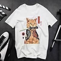 BST Áo thun unisex nam nữ in hình mèo đại ca ngậm kiếm form đẹp vải cotton dày mịn mát 2020T2820