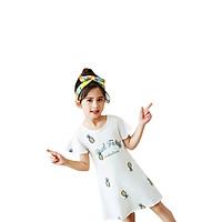 Đầm ngủ bé gái 4-10 tuổi hình quả dứa phối tay bèo xinh xắn – DN006