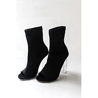 Giày Boots Cao Gót Đen Đế Trong