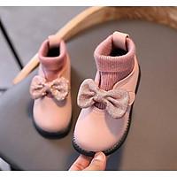Giày đính NƠ cổ len hàng cao cấp cho bé gái.