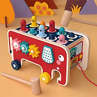 Đồ chơi gỗ - Ô tô kéo đập chuột 2 búa kết hợp luồn hạt và bánh răng bằng gỗ cao cấp
