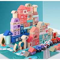 Đồ chơi xếp hình xây dựng thành phố bằng gỗ 133 chi tiết với 9 chữ số. 23 chữ cái kết hợp vừa học vừa chơi, nguyên liệu an toàn cho bé