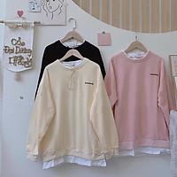 Áo thun phối vạt tay dài nữ - Sweater phông dáng suông thêu chữ basic kiểu dáng korea HOT