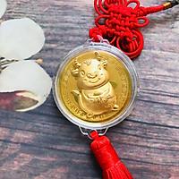 Dây treo đồng xu con Trâu cute màu vàng may mắn