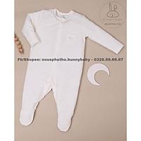 Bộ Nous bodysuite cho bé sơ sinh petit trắng, trắng ghi( mẫu mới 2021)