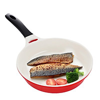 Locks and buckles, single handle frying pan, frying pan, fried egg, non-stick pan, no smoke, induction cooker, gas stove, universal LCA2203D, red 20cm