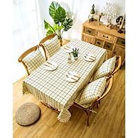 Khăn trải bàn vải canvas cao cấô vuông trắng kem- viền ren xinh xắn - trải bàn nhà hàng - quán ăn - phòng khách - phòng ăn KB29