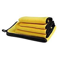 Khăn lau xe hơi lông dày, một mặt vàng đậm, một mặt đen siêu thấm nước, đa năng cở lớn 38x45 cm