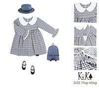 Váy Đầm bé gái caro trắng xanh tay dài. Thương hiệu Kika. Code K063, K132