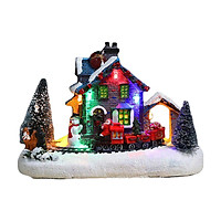 Christmas LED Lighted Village Houses with Figurines Light Up Christmas Snow Village Decor Battery Operate Christmas