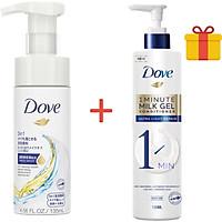 Mousse Rửa Mặt 3 Trong 1 Dove 135ml Tặng Kem Xả Dove Phục Hồi Hư Tổn 1 Phút Dạng Gel Sữa Dưỡng 150ml