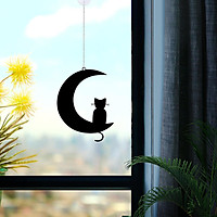 Elegant Metal Hanging Decor Cat on The Moon Silhouettes for House Windows