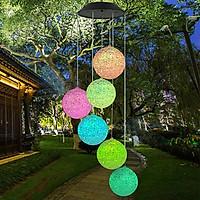 ĐÈN LED Năng Lượng Mặt Trời đèn chuông gió bóng tròn xoắn ốc đổi màu