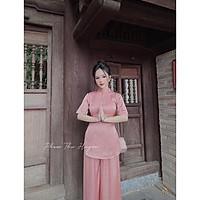 Bộ Đi Lễ Chùa - Đồ Lam Nữ Đẹp Cao Cấp Trang Nhã Vải Lụa La Tinh Giọt Nước 2021 Dành Cho Phật Tử AL005