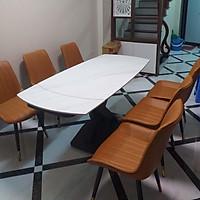 Bộ bàn ăn 4 ghế mặt đá xoay kéo dài