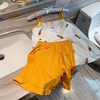 Bộ đồ ngủ nữ, bộ mặc nhà áo 2 dây quần cộc có đệm ngực họa tiết dễ thương V33