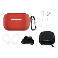 Phụ kiện chống rớt cho tai nghe Airpods Pro gồm hộp silicon, móc khoá, dây nối, móc vành tai, đế xỏ đồng hồ và hộp chống sốc