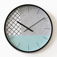 Đồng hồ treo tường tròn không số 2 kim mix họa tiết vân đá 30cm