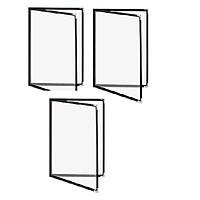 Bộ 3 bìa thực đơn 4 trang Urimenu trong suốt A4 viền may 2 kim màu đen cho nhà hàng, quán cafe