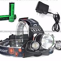 Đèn pin đội đầu 3 bóng siêu sáng + Tặng 2 Pin sạc và Adapter