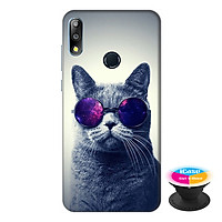 Ốp lưng điện thoại Asus Zenfone Max Pro M2 hình Mèo Con Đeo Kính Mẫu 2 tặng kèm giá đỡ điện thoại iCase xinh xắn - Hàng chính hãng