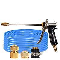 Bộ dây vòi xịt nước rửa xe, tưới cây đa năng, tăng áp 3 lần, loại 3m, 5m 206318Tđầu đồng, cút đồng, d.vàng