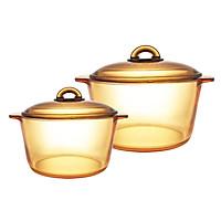 Bộ 2 Nồi Thủy Tinh Vitro Amberline Granite Luminarc (3L - 5L) - Vàng