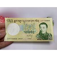 Tờ tiền 20 Ngultrum Bhutan - đất nước hạnh phúc nhất thế giới - tặng phơi nylon bảo quản tiền