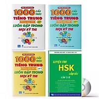 Combo 4 sách : 1000 Cấu Trúc Tiếng Trung Thông Dụng Nhất Luôn Gặp Trong Mọi Kỳ Thi Tập 1 + Tập 2 + Tập 3 và  Luyện thi HSK cấp tốc  tập 1- tương đương HSK1 -HSK2 (kèm CD)