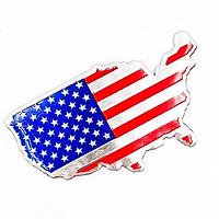 Cờ Mỹ America bản đồ - Sticker metal hình dán kim loại