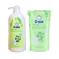 Combo Nước rửa bình và rau củ dnee organic dạng chai và túi (620ml+400ml)
