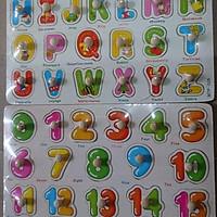 Bảng ghép nút gỗ, chữ cái ,chữ số( khổ to)