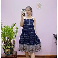 Váy hai dây lanh Thái chống nhăn, nhàu, chất liệu lanh mát lạnh