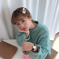 (Có sẵn) Áo len cổ tròn form dáng rộng thu đông phiên bản Hàn