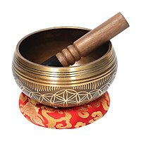 ammoon Bell Metal Singing Bowl Set with Mallet & Cushion Flower of Life Pattern Struck Bowl Tibetan Singing Bowl
