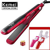 Máy duỗi tóc Kemei KM-1036 điều chỉnh 10 mức nhiệt phù hợp với mọi loại tóc Tặng kèm 2 kẹp chia tóc cá sấu tiện lợi